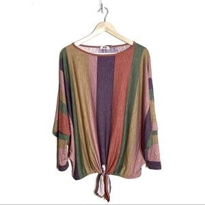 First Love Dolman Sleeve Blouse Vertical Stripe